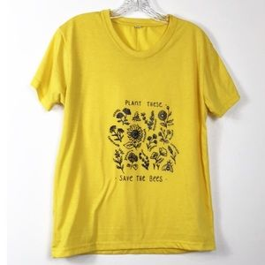 Plant These Save The Bees Graphic Tee Shirt L